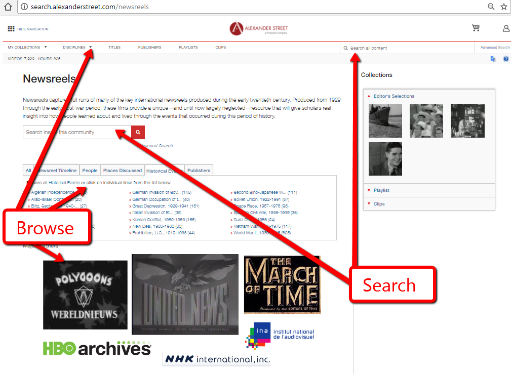 Screenshot of Newsreels Page
