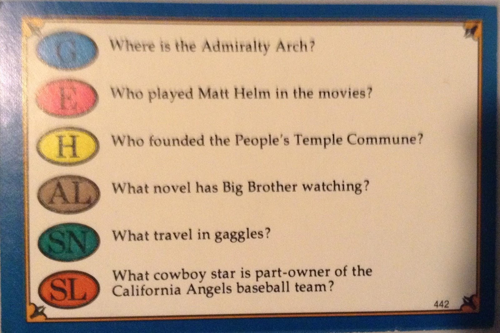 Library Trivial Pursuit Card #1
