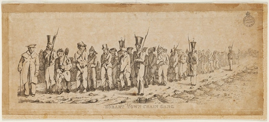 Hobart Town Chain Gang etched by G. Bruce ca.183