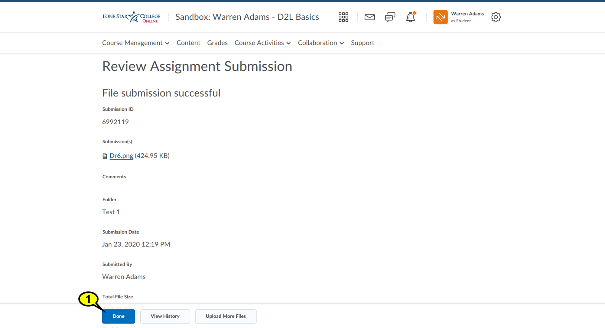 Your document is now uploaded! Clicking Done will take you back to the Assignment Folders page.