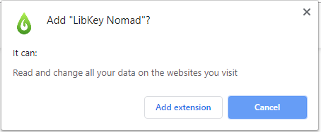 Choose Add extension for LibKey Nomad