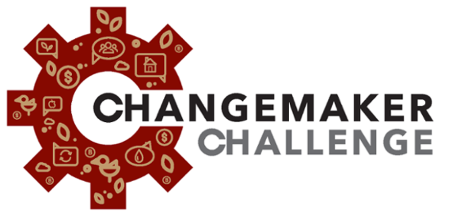 Logo for the Sustainability Literacy Institute's Changemaker Challenge, with a gear-shaped design surrounding the text.