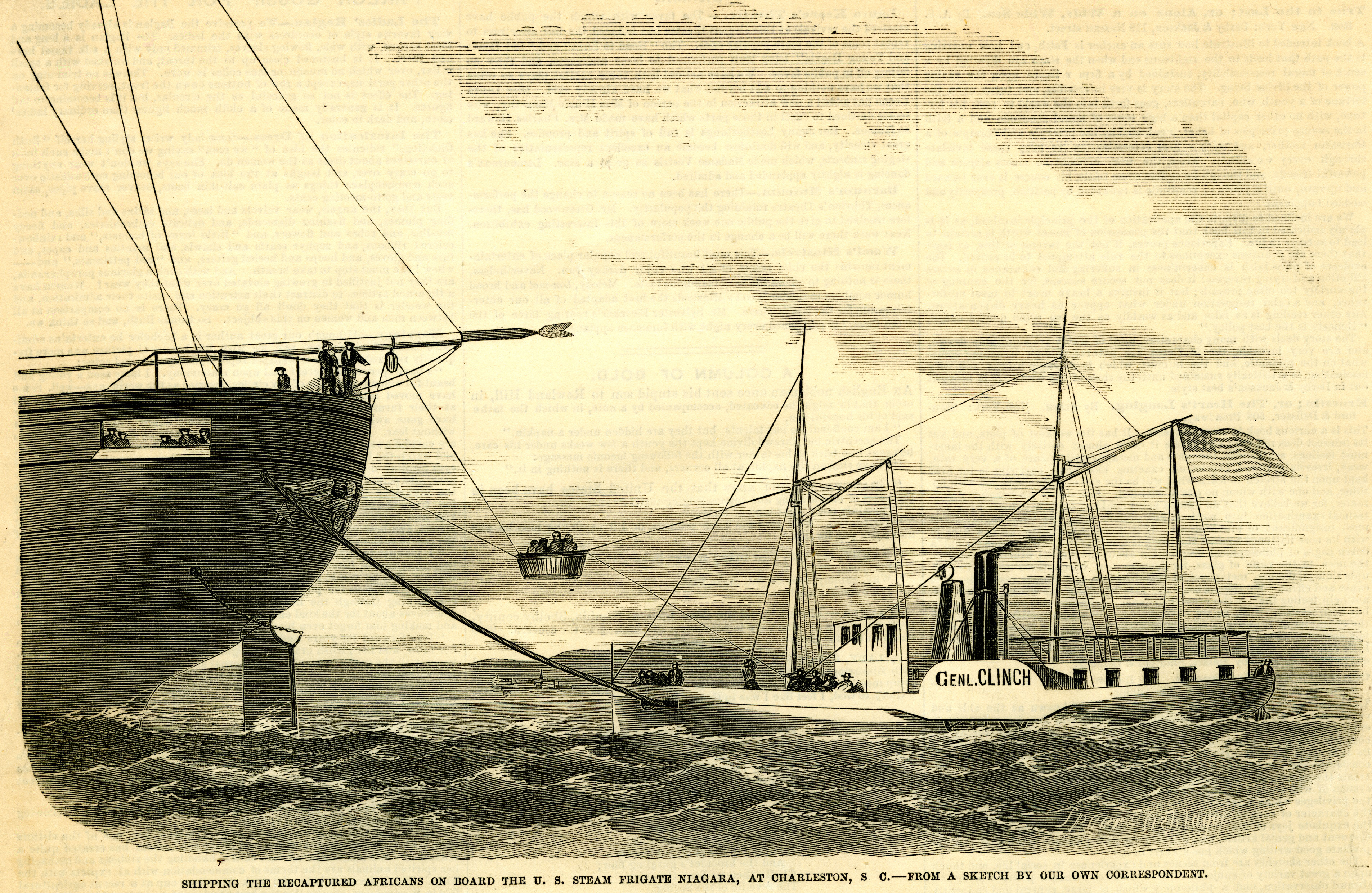 1858 newspaper illustration with caption: 'Shipping the recaptured Africans on board the U.S. steam frigate Niagara, at Charleston, S.C.--from a sketch by our own correspondent.' [full date Oct. 9, 1858]