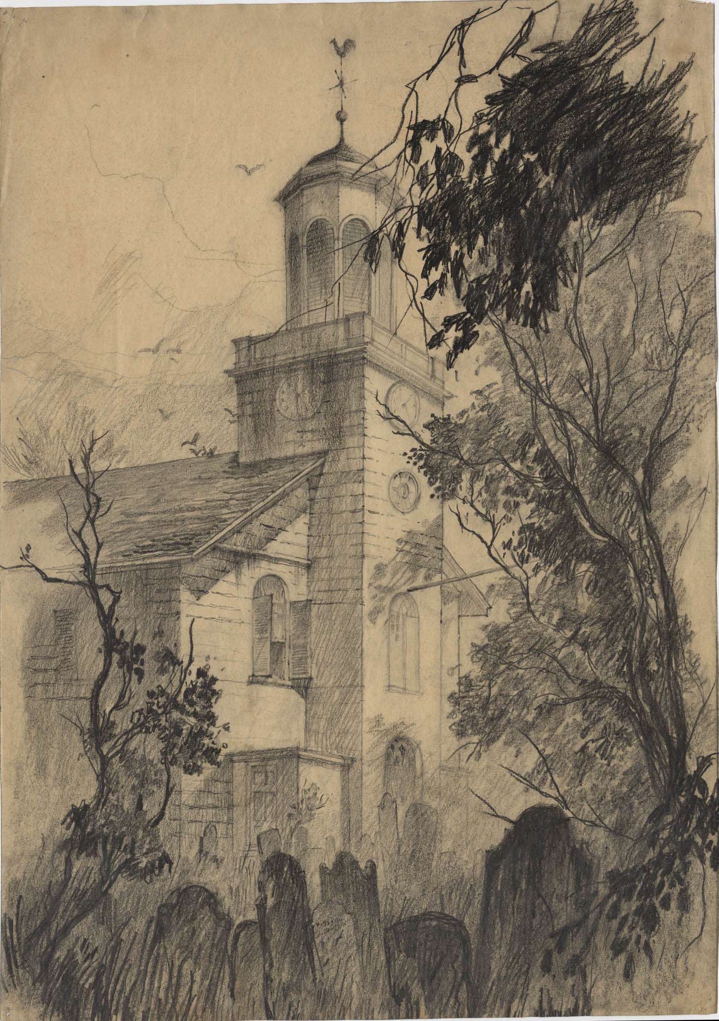 Drawing of an exterior view of St. Helena's Church in Beaufort, South Carolina. Drawing also depicts the trees and cemetery surrounding the building.