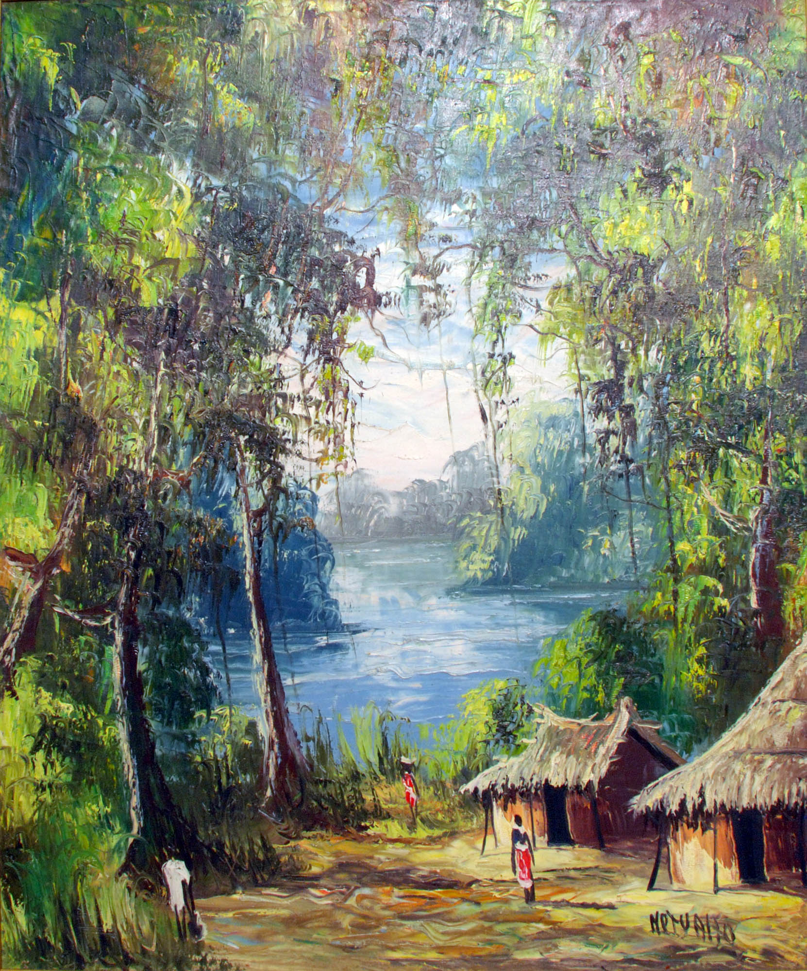 Framed acrylic painting depicting a village by a river in a forest setting.