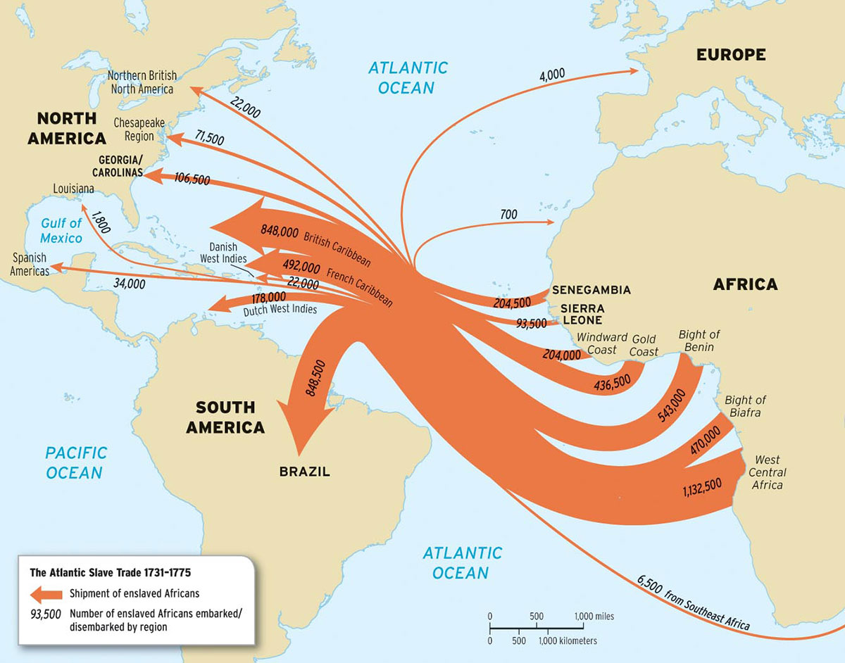 Map of transatlantic slave trade