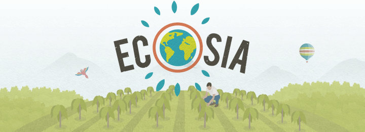 Logo for the search engine Ecosia.org with the earth styled like the globe over a field of crops