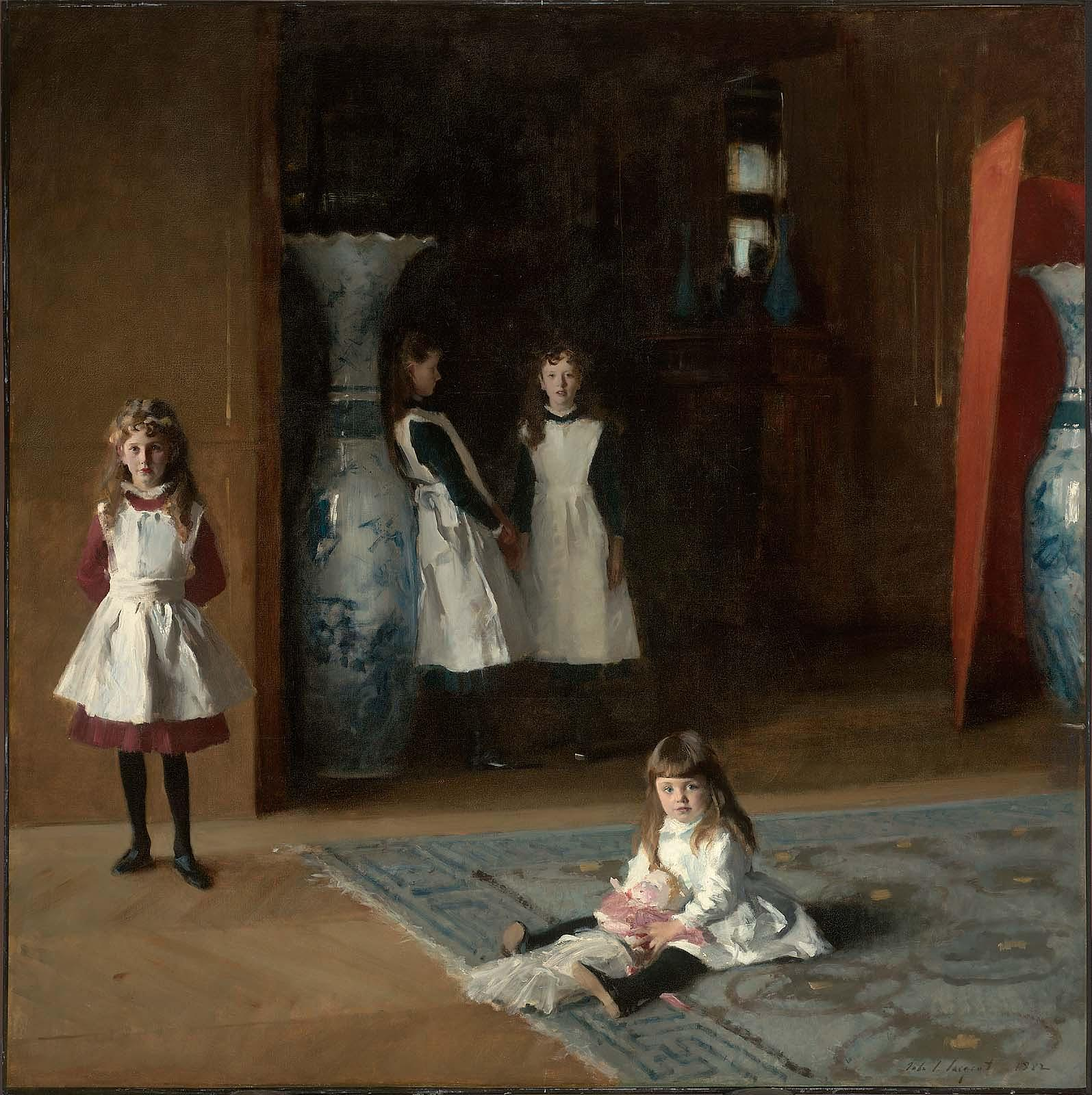 Painting of an interior room with four girls. Three are looking at the viewer, one sitting on the ground, and the other is looking off to the right. There are two large blue and white vases in the room.
