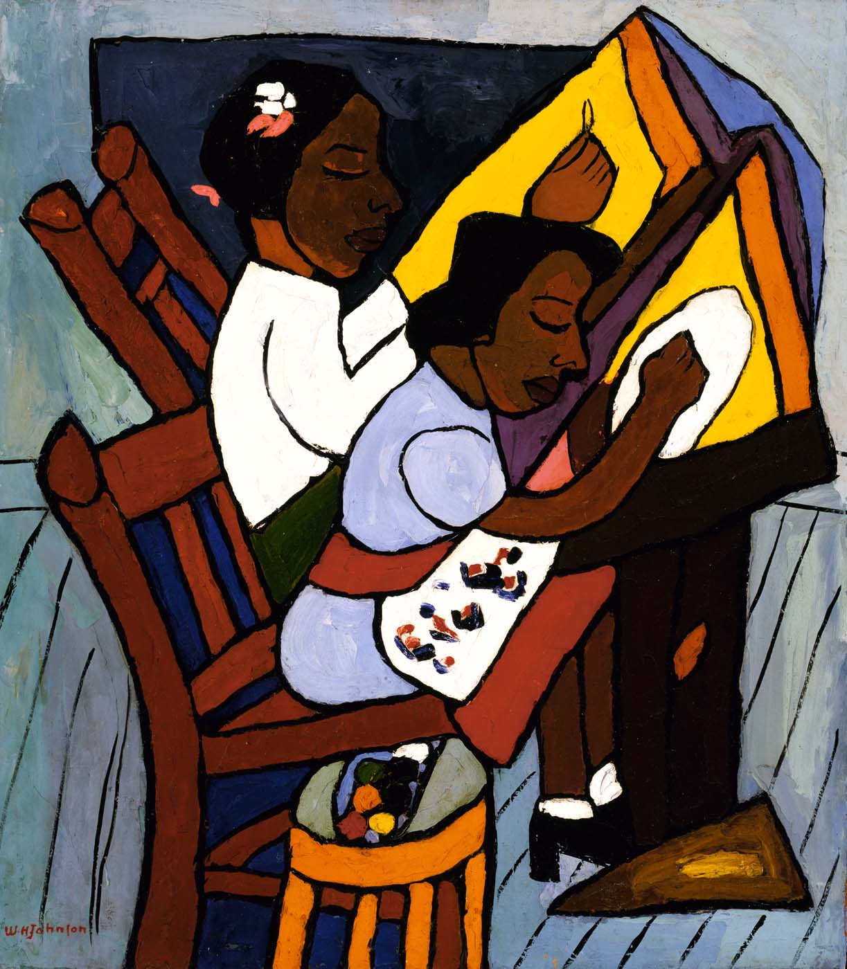 A painting by William H. Johnson of two people painting.