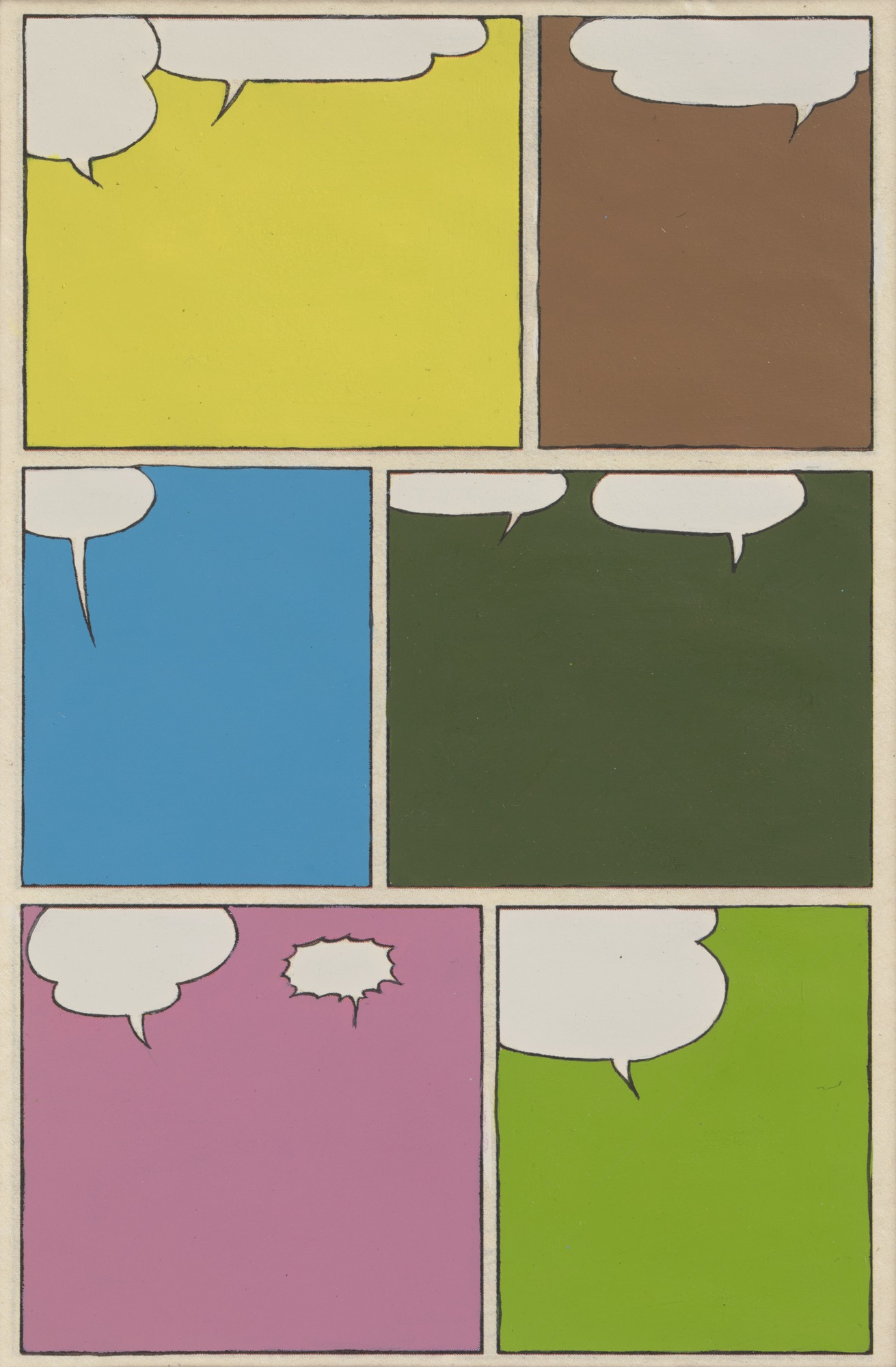 A work by Rivane Neuenschwander that is made up of comic panels and speech bubbles. Each panels are filled with different colors and the speech bubbles are empty.