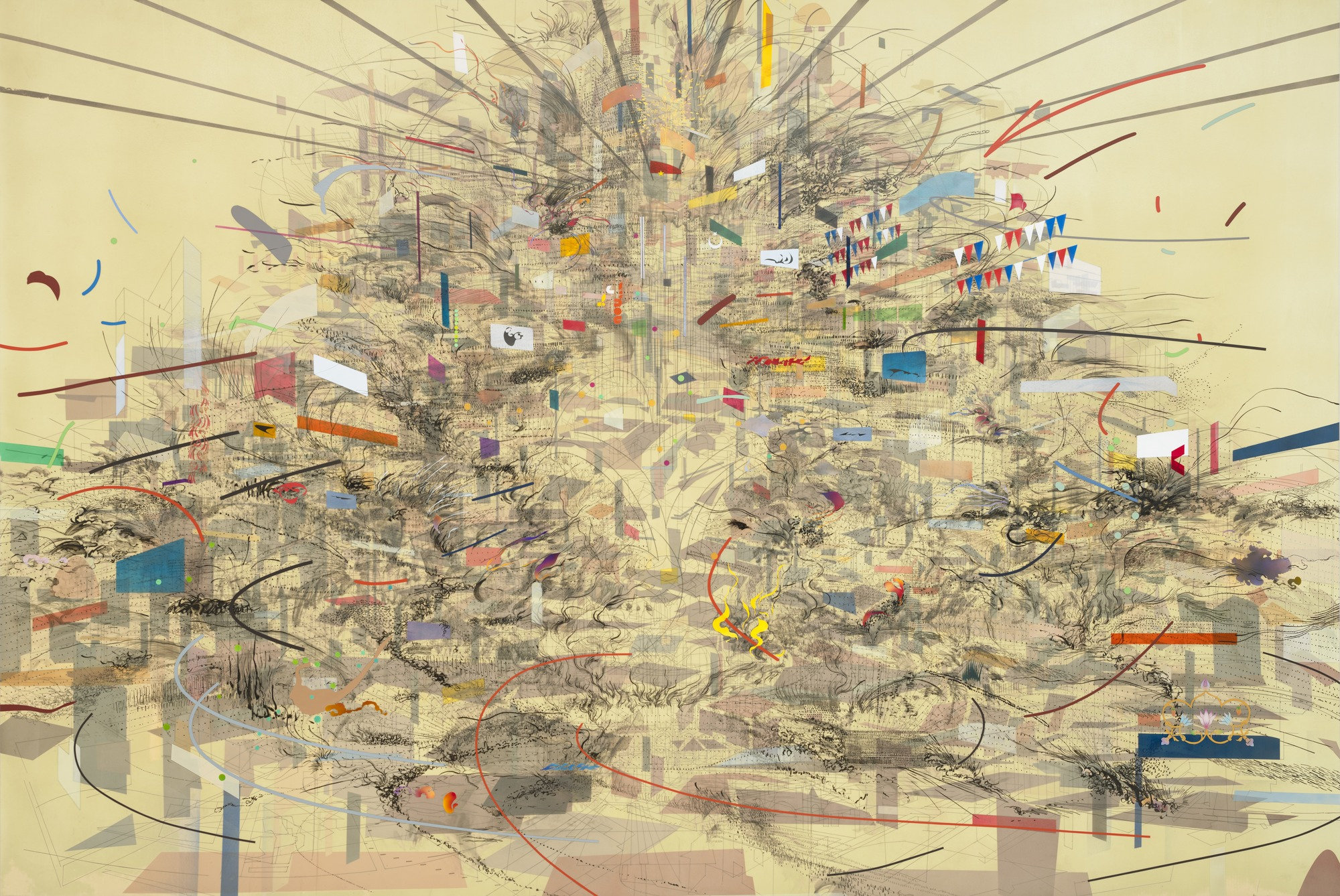 A large abstract painting by Julie Mehretu. It includes a mostly blank canvas with most of the color, lines, and shapes in the middle.