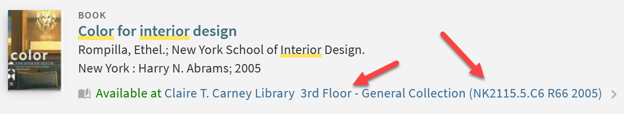 """Screenshot of an entry in the catalog with """"Available Online"""" underneath the title, author, and publisher information. A superimposed red arrow points to the floor it's located on and the call number."""