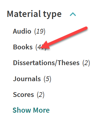 """Screenshot of the section of the library catalog described above with a superimposed red arrow pointing to """"books."""""""