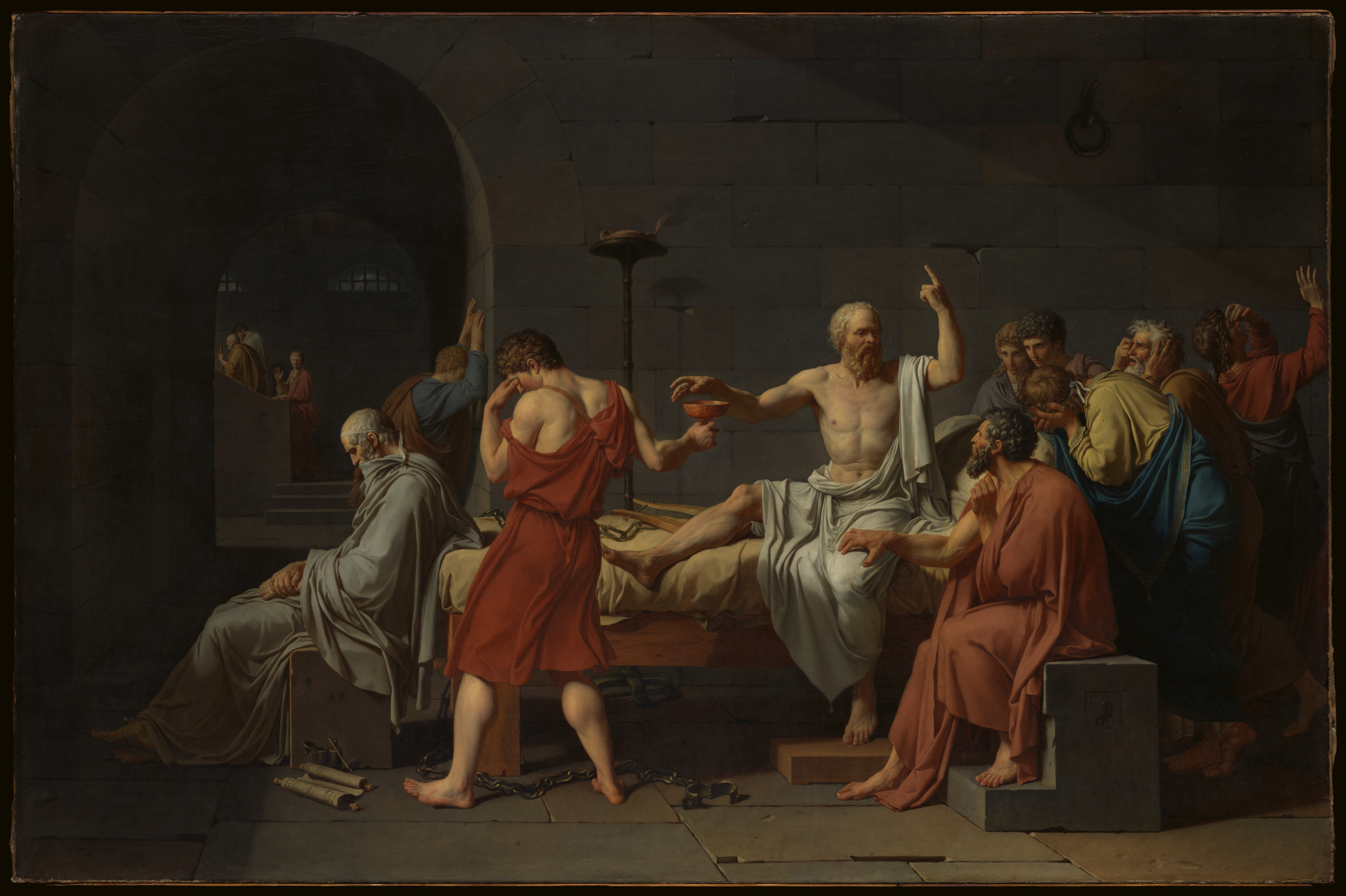 A painting by Jacques Louis David that depicts Socrates preparing to drink poision after being senteced to death. He is surronded by others who seem upset as they listen to him.