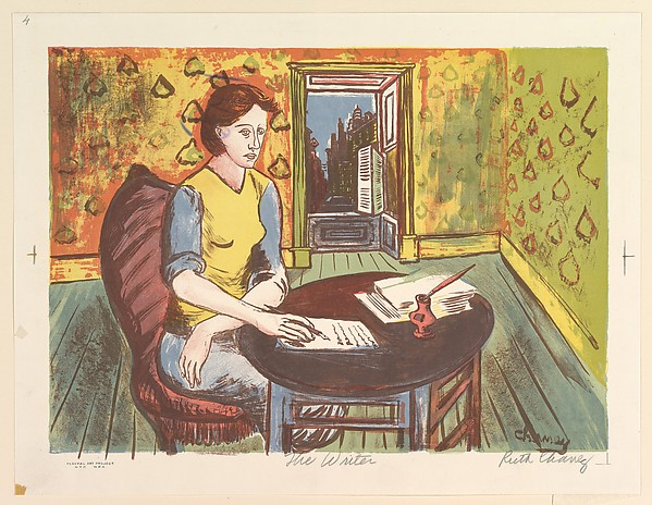 A print by Ruth Chaney of a person writing at a table. There's a stack of papers on the table as well as an inkwell. There's an open window beind.