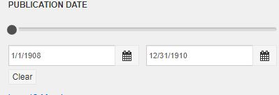 Image of date limiter box on the GGCC Library search results page, in which adate span may be entered to narrow results.