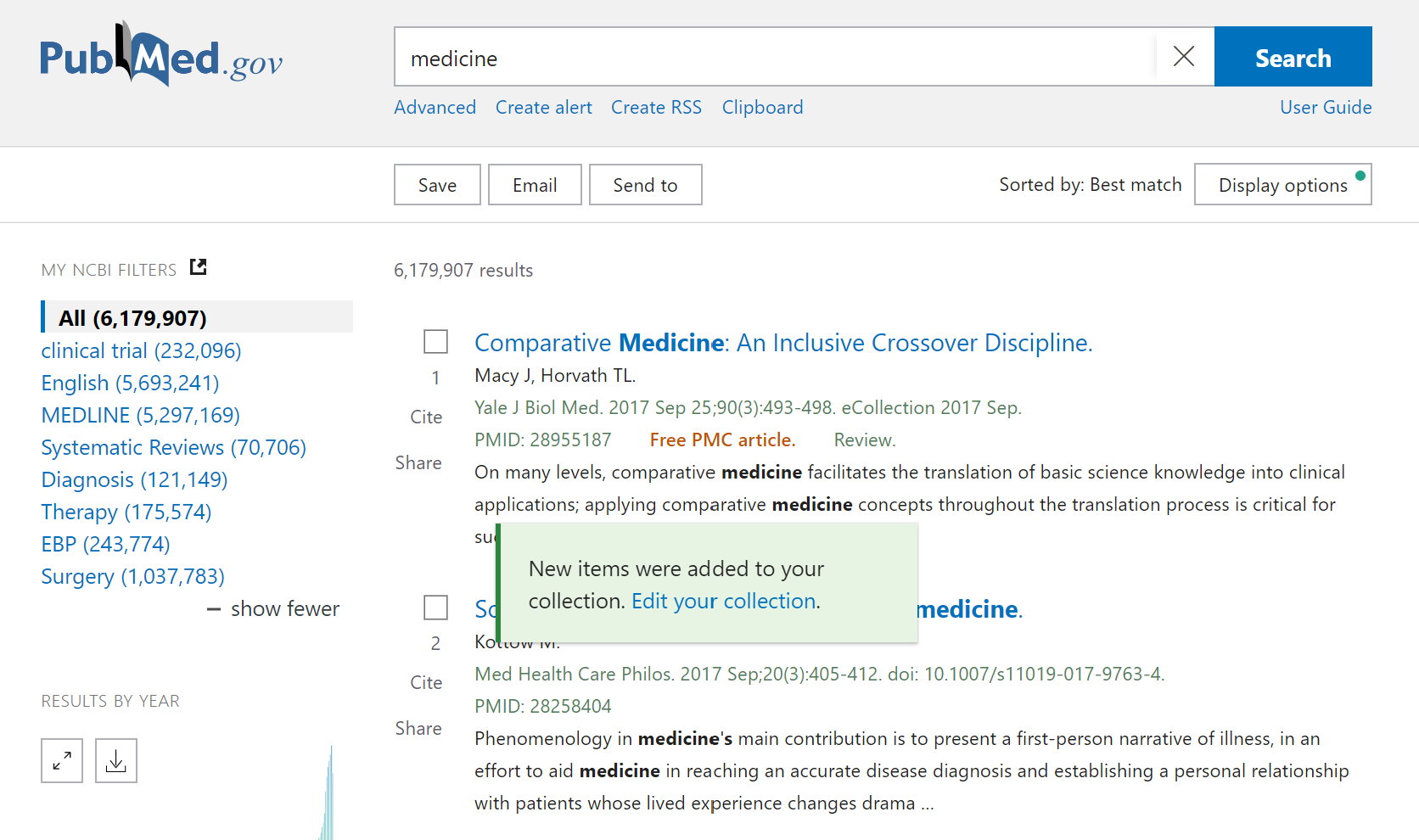 View or edit your new Collection in PubMed