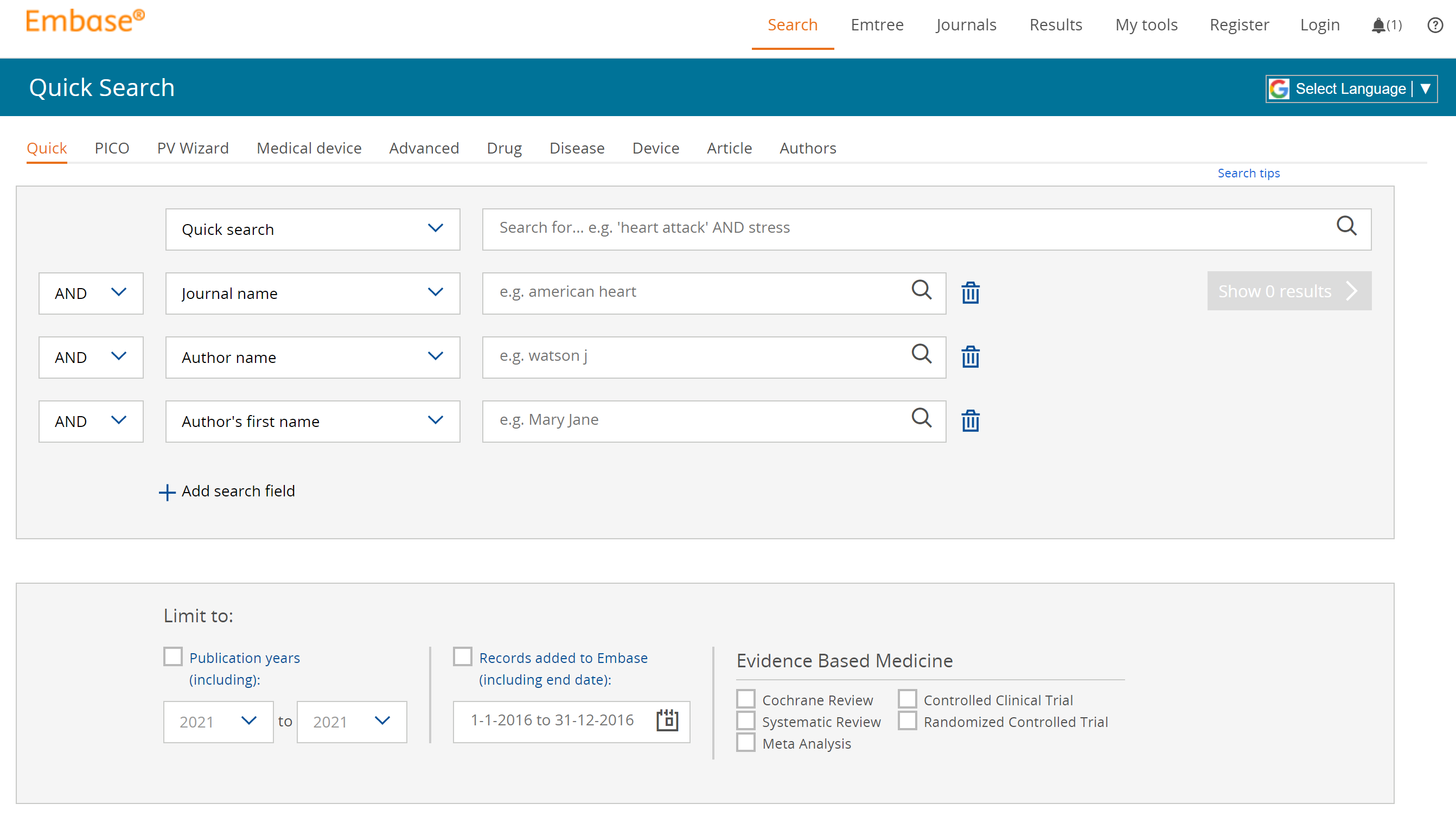 the Embase home page