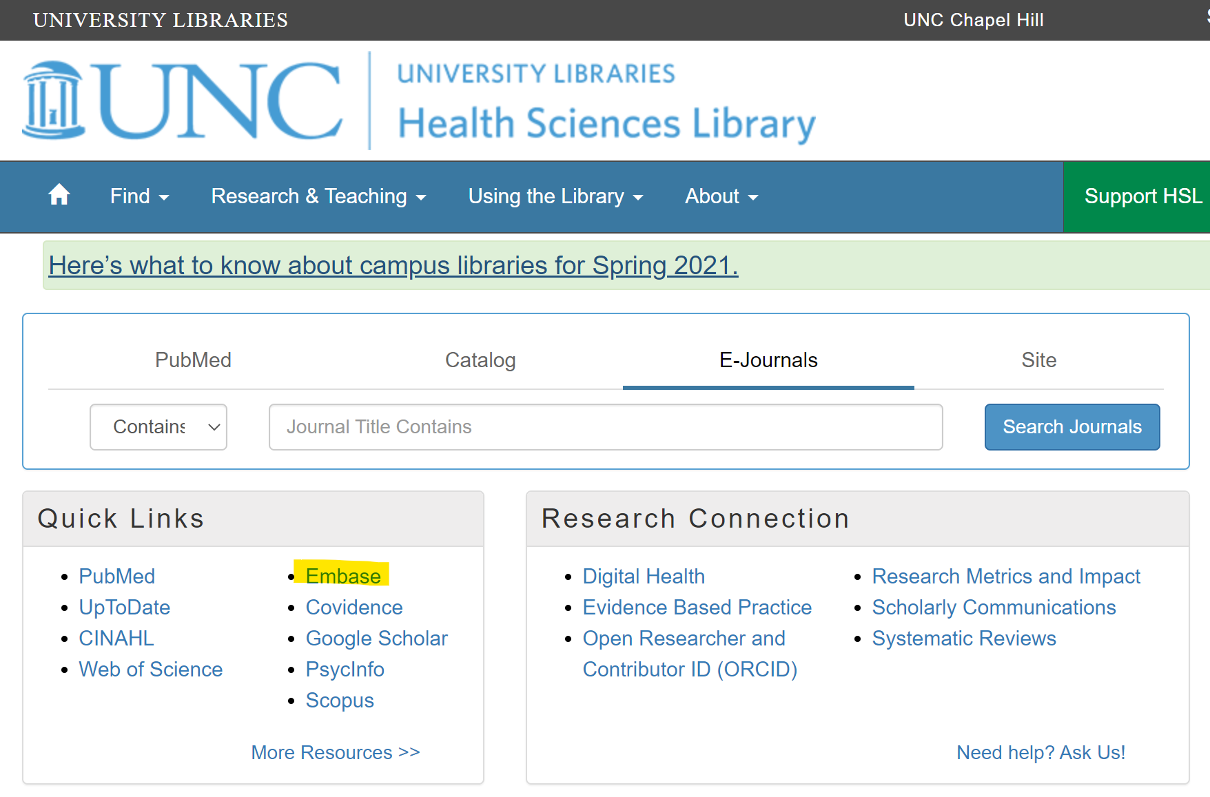 HSL homepage with Embase link highlighted