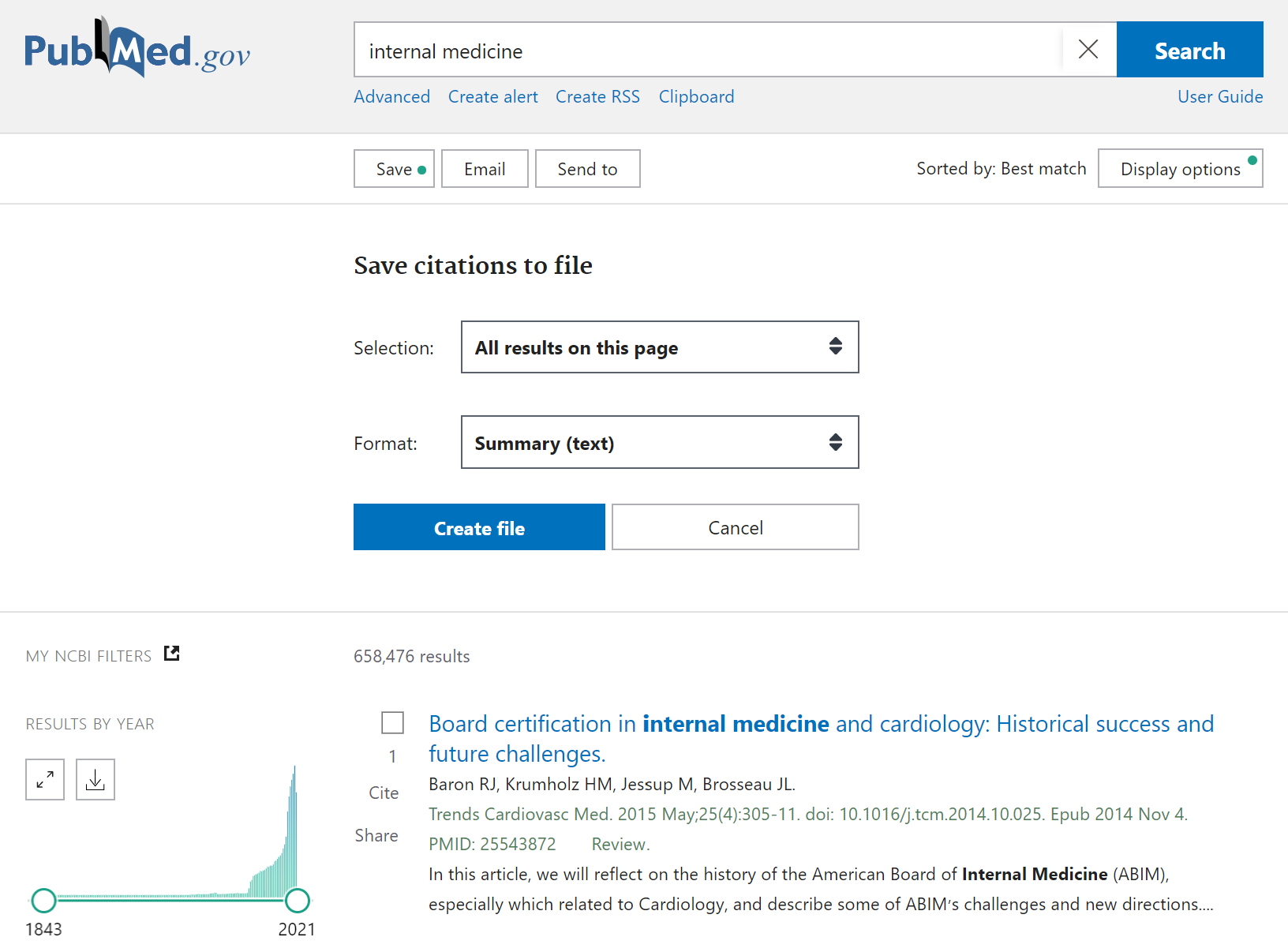 The Save citations to file option in PubMed