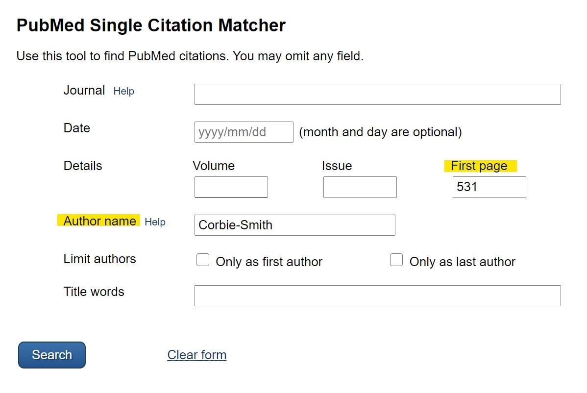 The PubMed Single Citation Matcher form