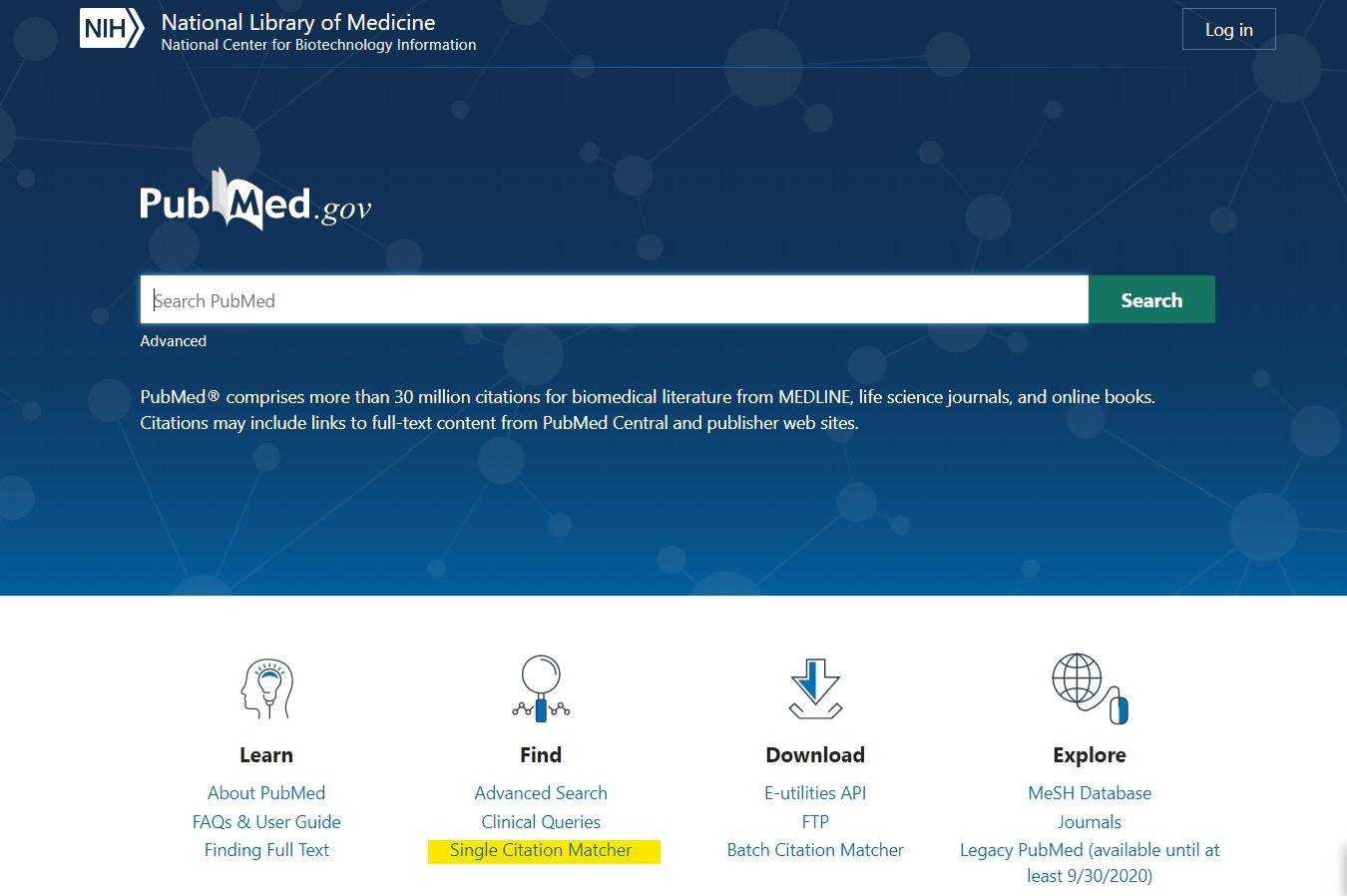 The PubMed Single Citation Matcher link