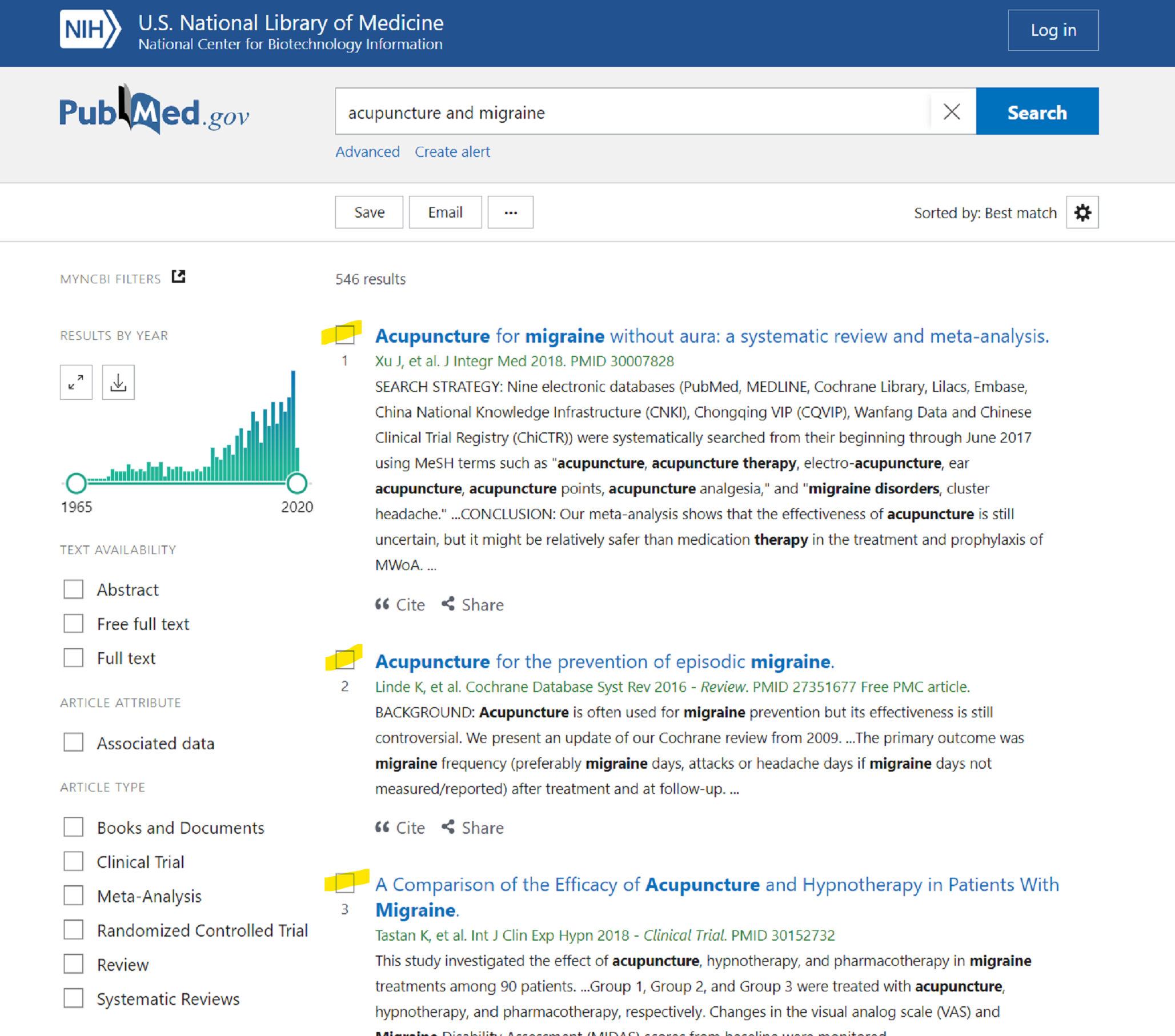 Select individual articles in PubMed search results