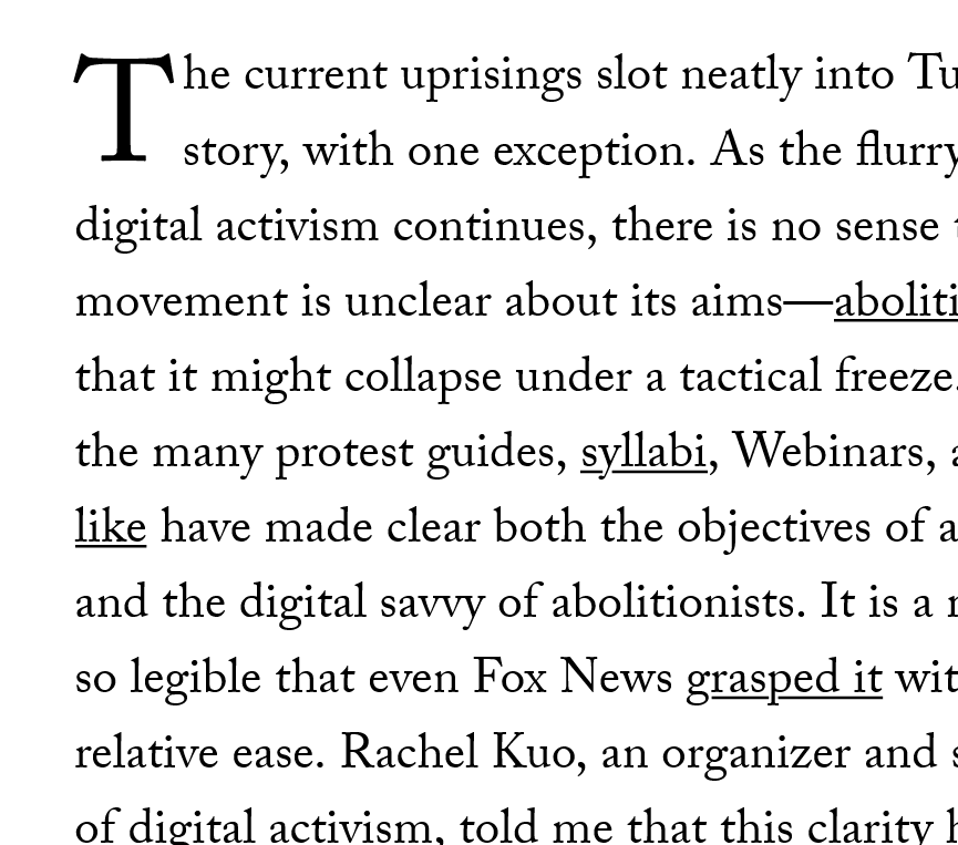 Excerpt of text with embedded links from a New Yorker magazine article