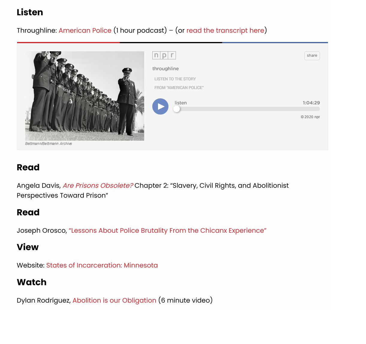 Sample from abolition website listing podcasts, articles, and videos with simple text and embedded links