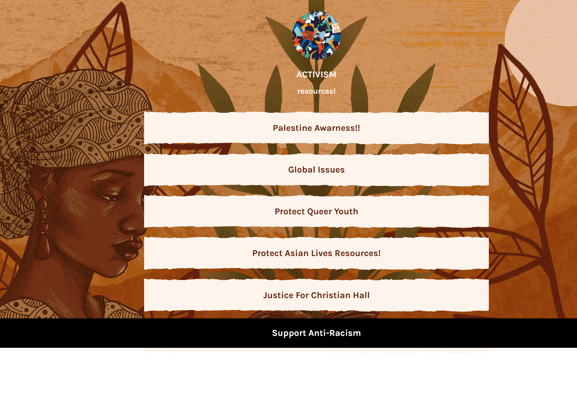 Set of boxes with links to resources from LinkTree, brown decorative art background with silhouette of woman of color.