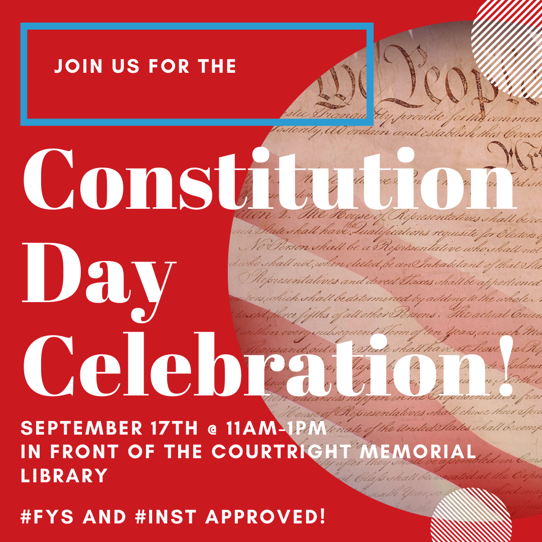 Red background with a picture of the United States Constitution in a circle; text with date and time of event