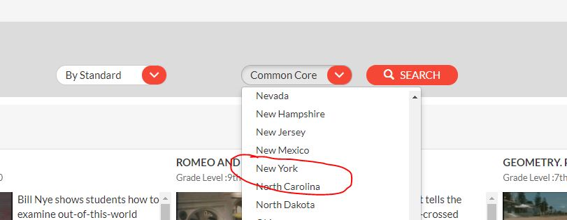 Select New York in Common Core Drop Down Menu