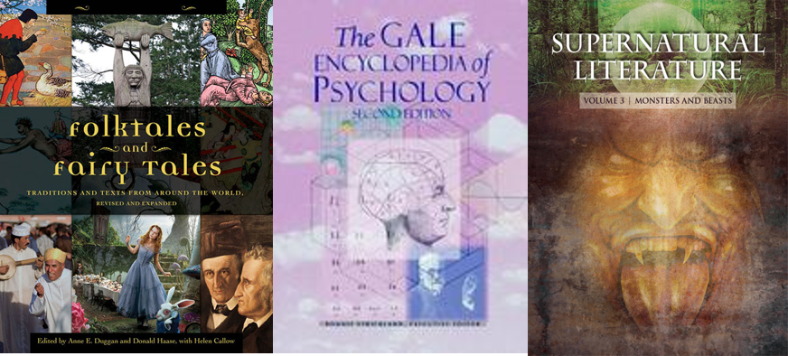 cover images from 3 encyclopedias from Gale Virtual Reference Library relevant to the study of fairy and folk tales