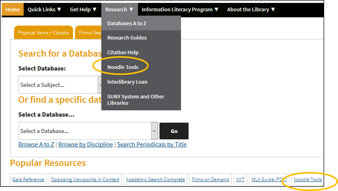 Quicklinks to NoodleTools from the Harold L. Drimmer Library homepage