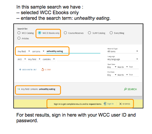 A sample ebook search in the Drimmer Library Advanced Catalog Search