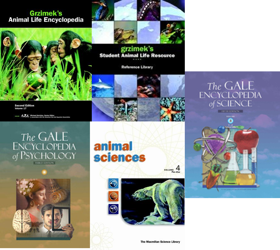 cover art for several animal references in Gale Virtual Reference Library