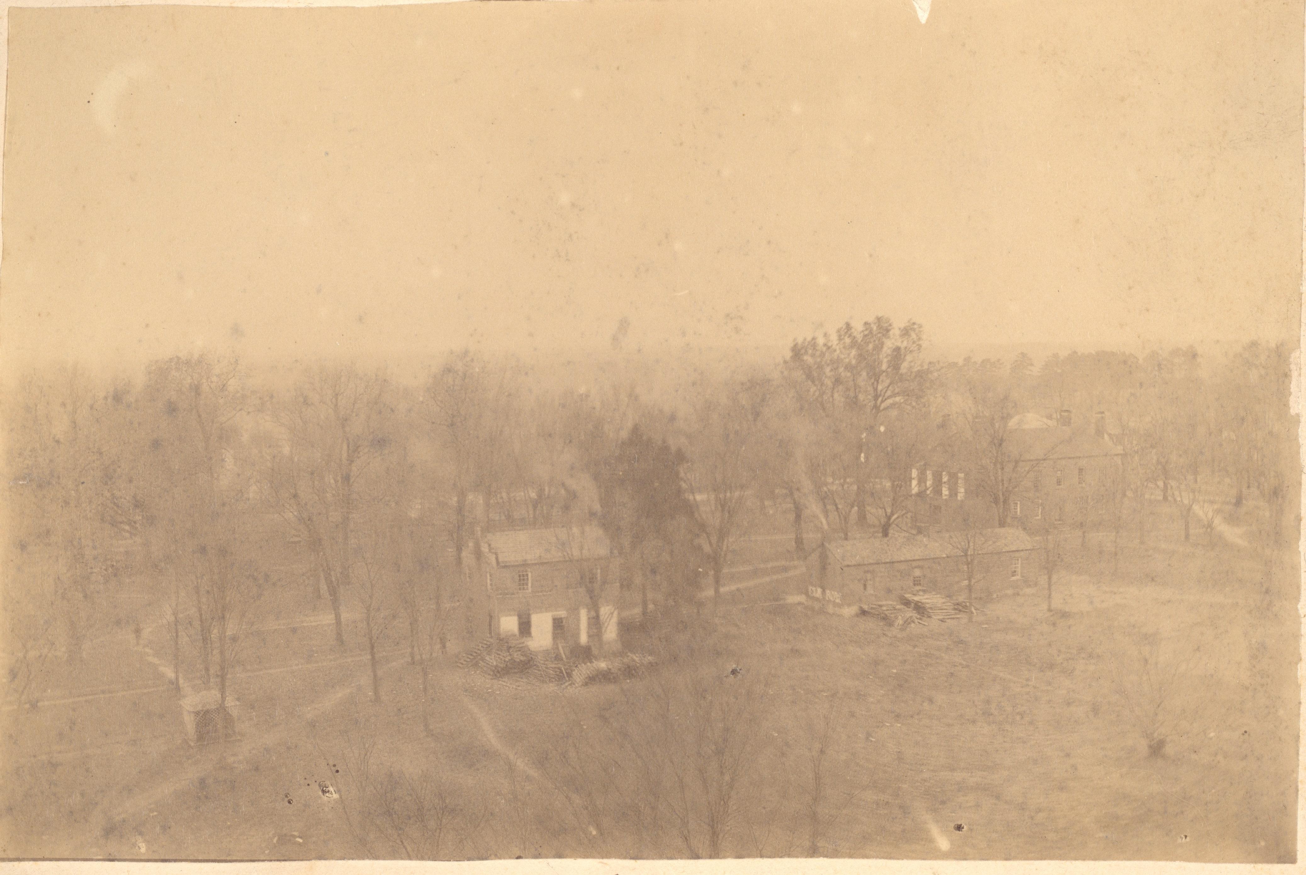 sepia tone aerial view of campus