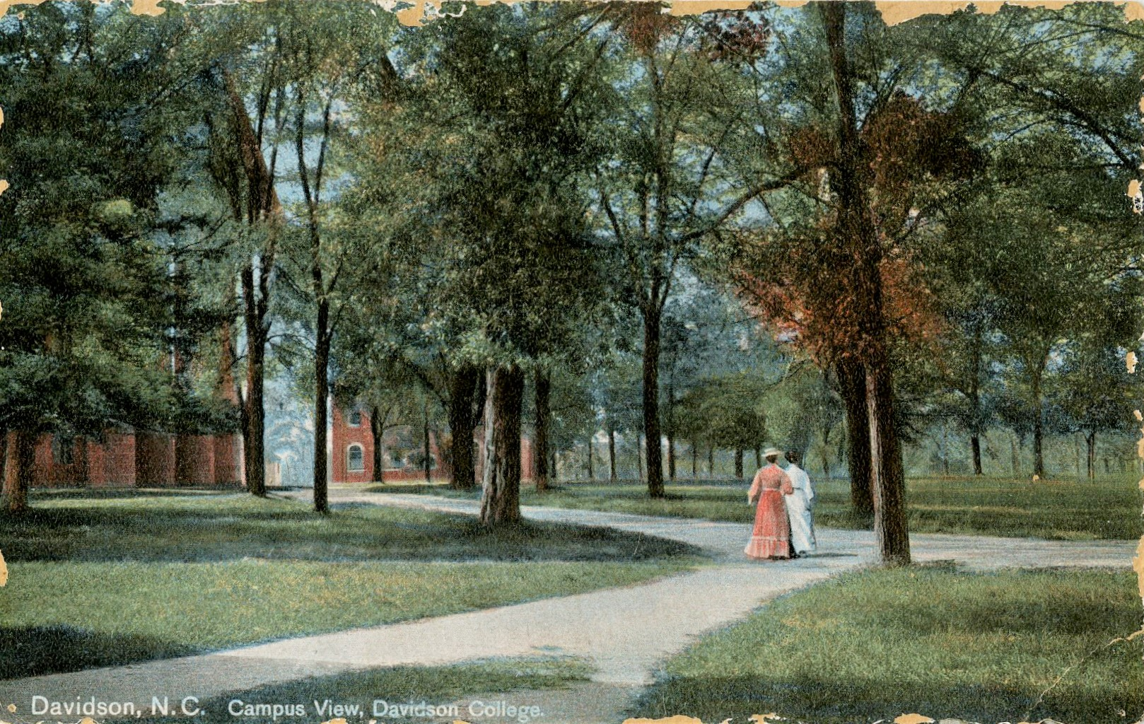 color postcard of campus walkway with two women walking ca. 1890s