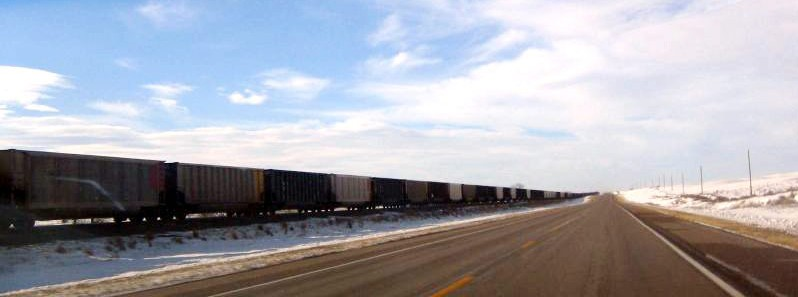 Picture of a freight train in winter