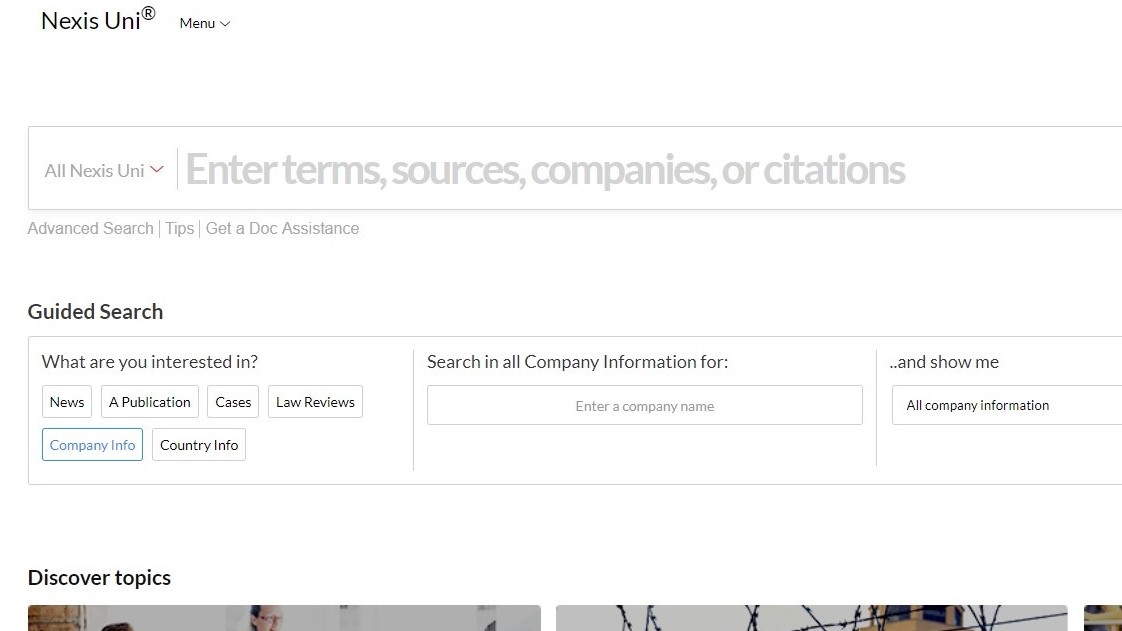 screenshot of nexis uni database company information search screen