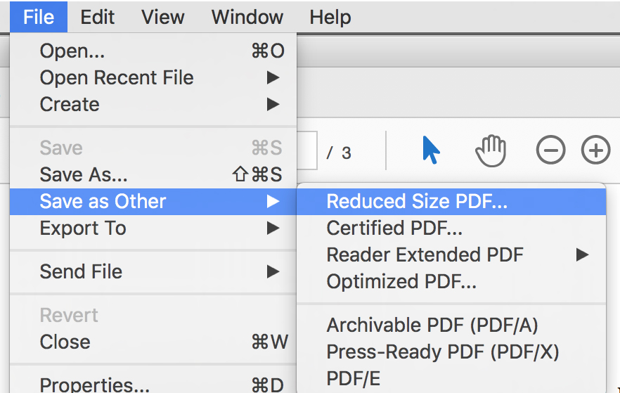 File >> Save as Other >> Reduced Size PDF