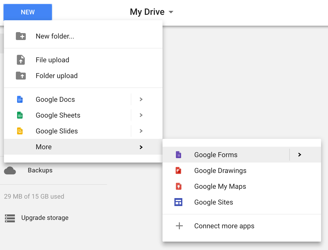 New > More > Google Forms