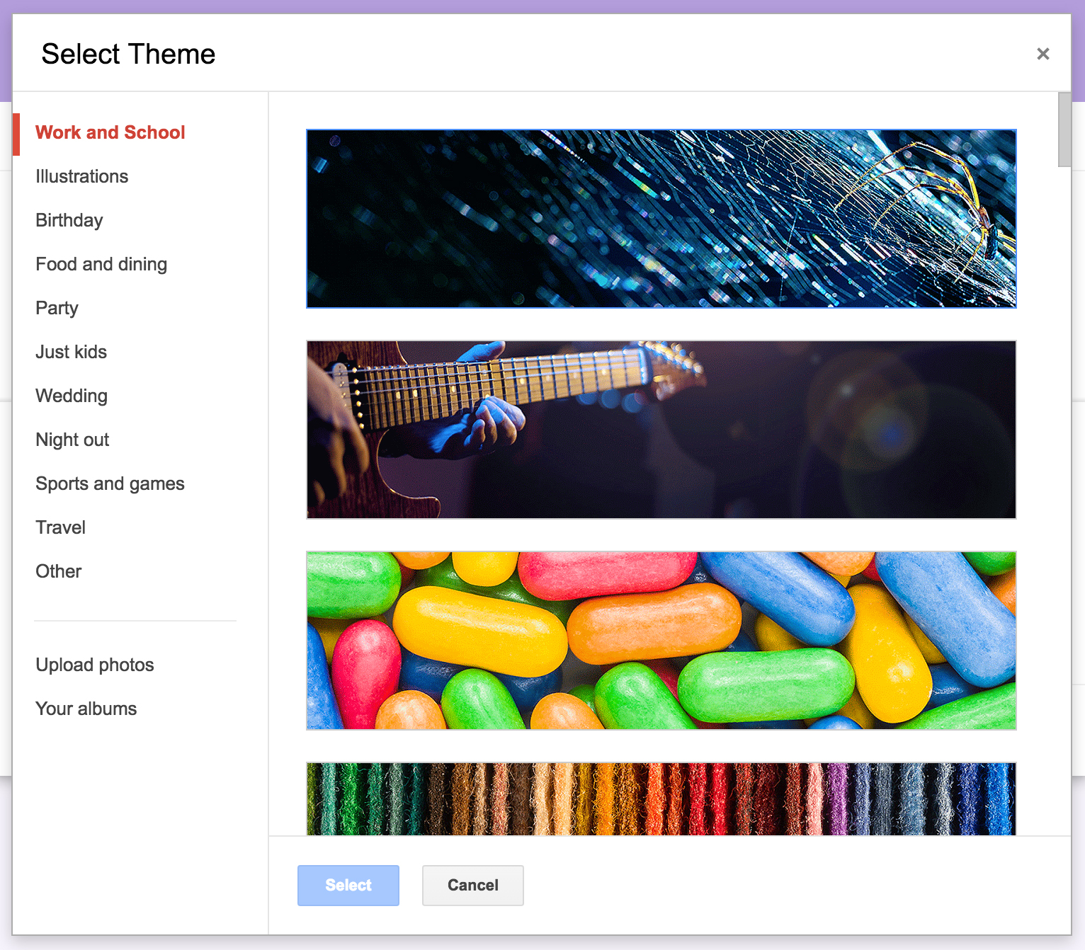 Select Themes and Images
