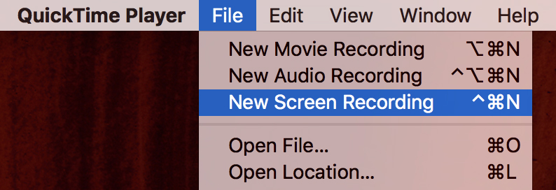 File > New Screen Recording