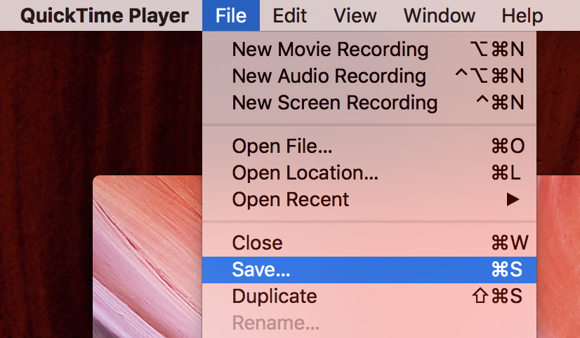 Save your video, 'File >> Save'