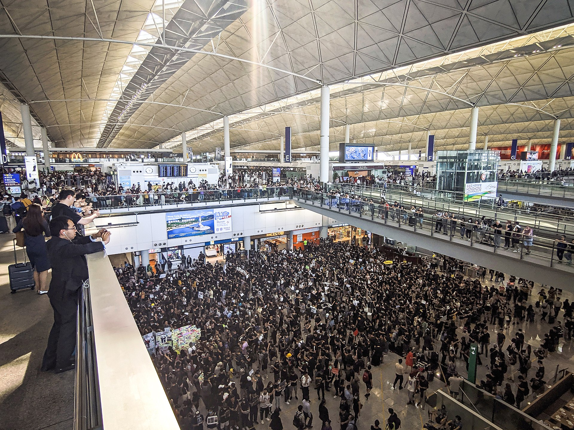 Protest at the Hong Kong International Airport on 26 July 2019