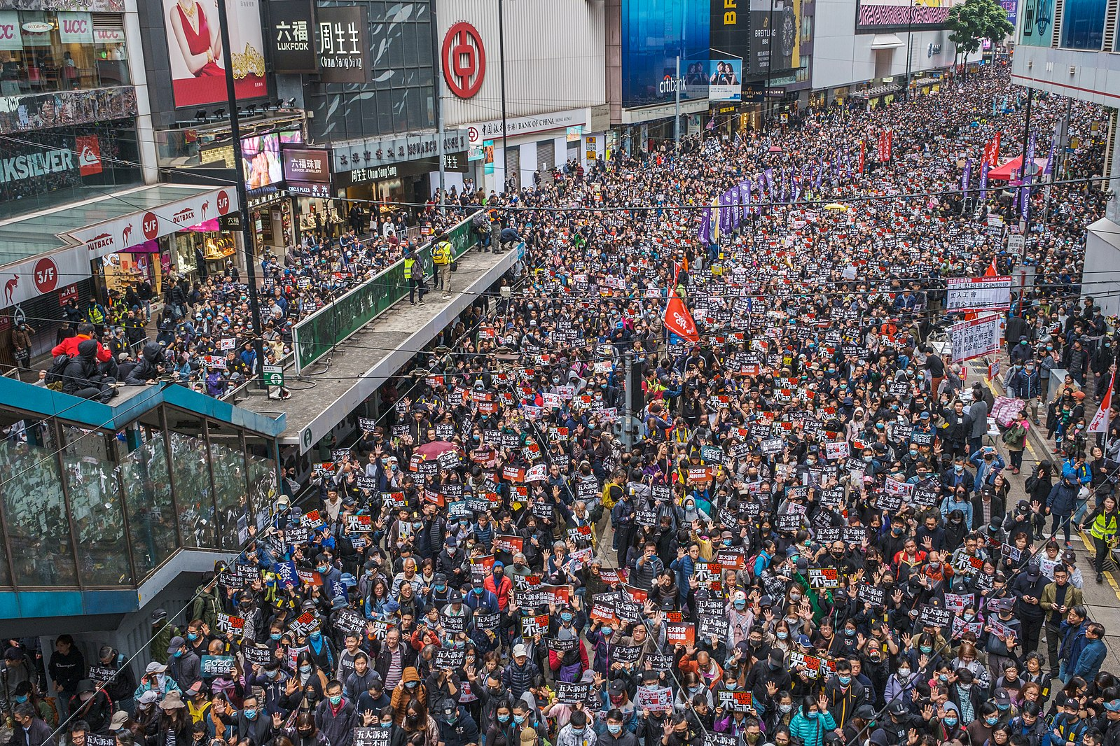 Protesters flood the streets (Image Wikipedia)