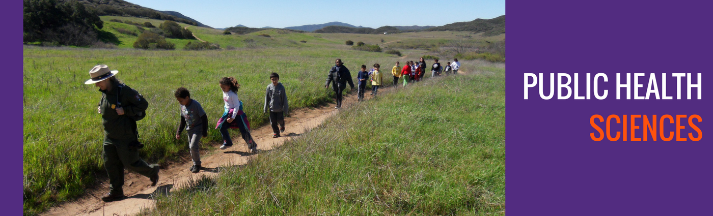 Color photo of adults and children hiking
