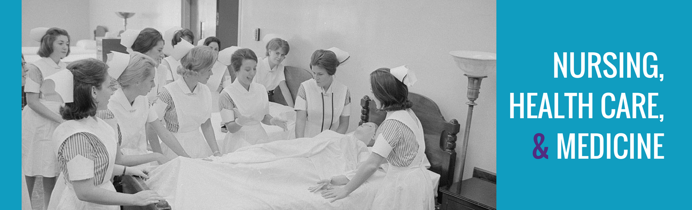 Black and white vintage photograph of nurses