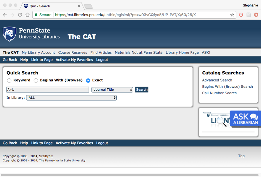 Screen shot of a search for A+U in the CAT.